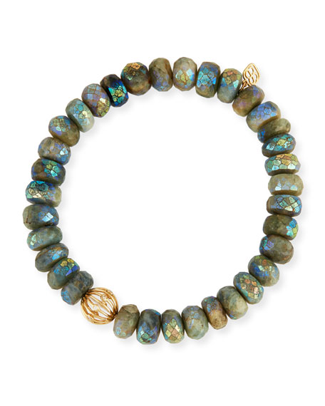 Image 1 of 1: Mystic Dark Aqua Beaded Bracelet with Diamond Bezel Ball Charm