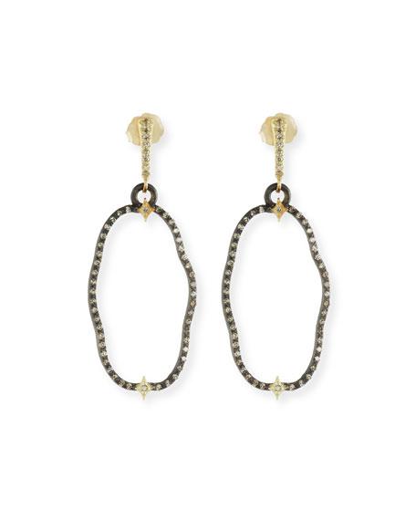 Old World Open Oval Drop Earrings with Diamonds