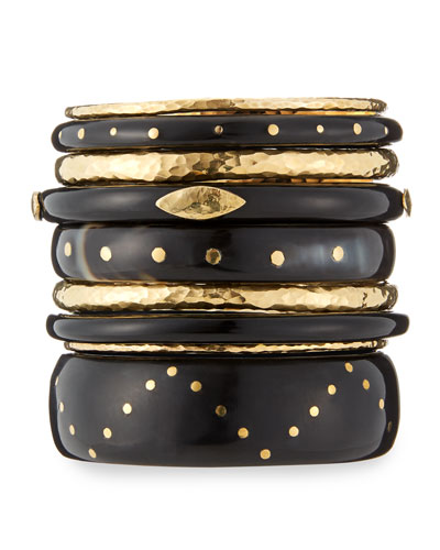 Ulinzi Dark Horn Stacking Bangles, Set of 9