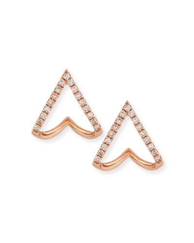 14K Gold Mini Chevron Wrap Stud Earrings with Diamonds