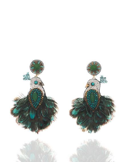 Beaded Tassel Drop Clip-On Earrings, Emerald