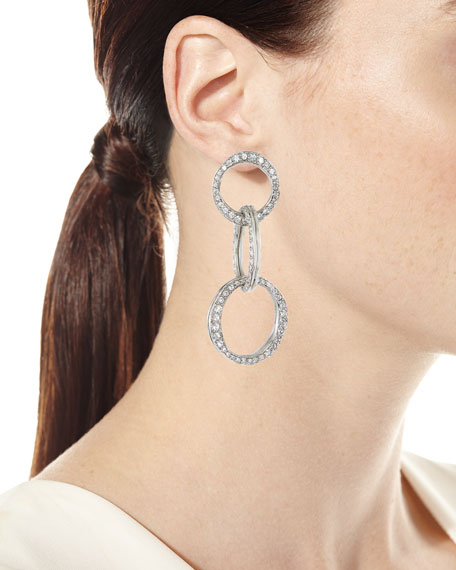 Scribble Crystal Pavé Dot-Linked Hoop Earrings