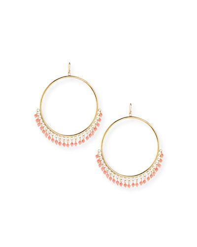 Mnara Bronze Hoop Earrings w/ Coral Dangles