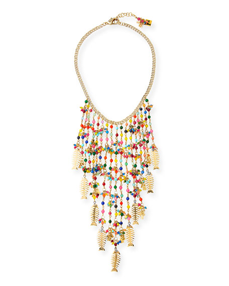 Image 1 of 1: Arsella Rainbow Fish Statement Necklace