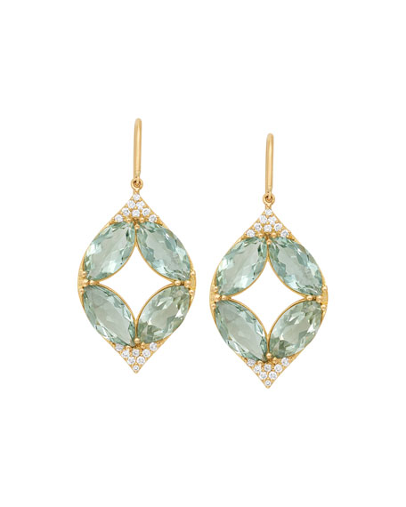 18k Marquise Oval Aladdin Earrings w/ Green Amethyst & Diamonds