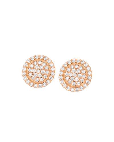 18k Diamond Pave Round Stud Earrings