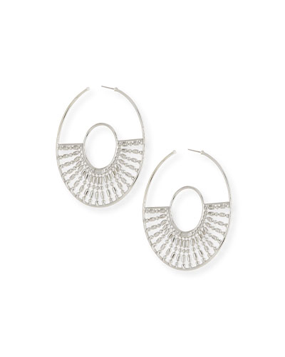 Diego Hoop Earrings, Silver