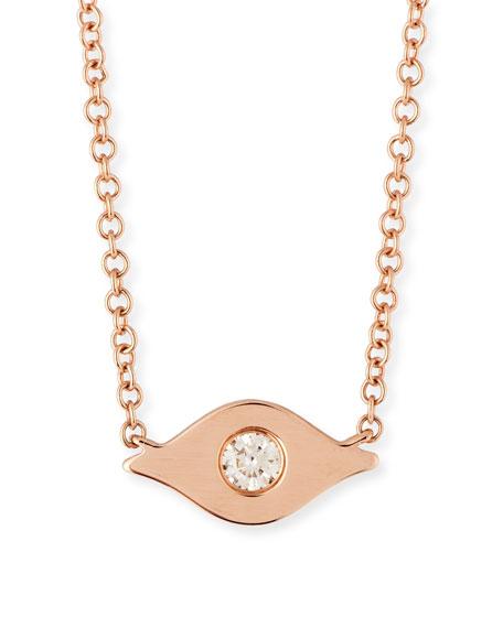 14k Diamond Evil Eye Pendant Necklace
