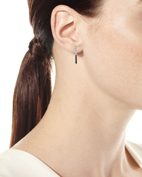 14k Black & White Diamond Bar Single Stud Earring