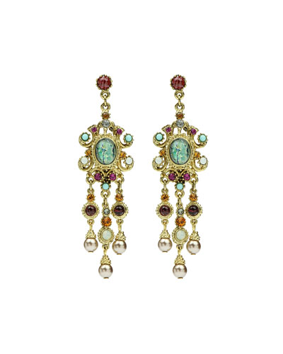 Multicolor Triple Pearly Drop Earrings
