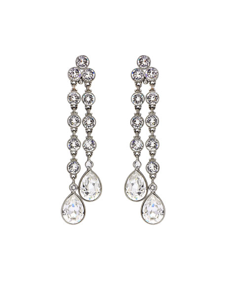 Double Teardrop Crystal Dangle Clip Earrings