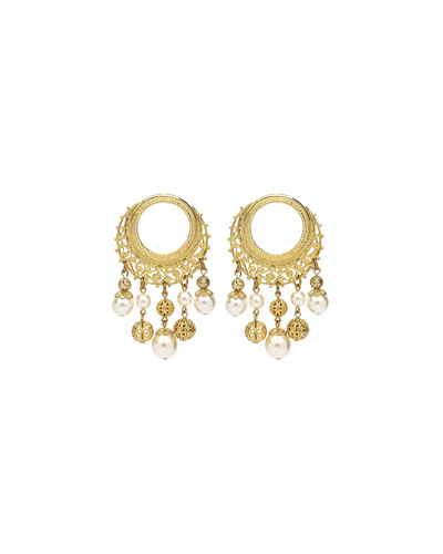 Round Pearly Drop Earrings