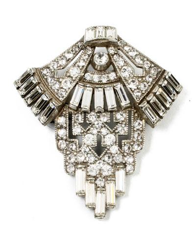 Geometric Crystal Deco Brooch