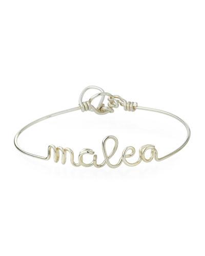 Personalized 10-Letter Wire Bracelet  Silver