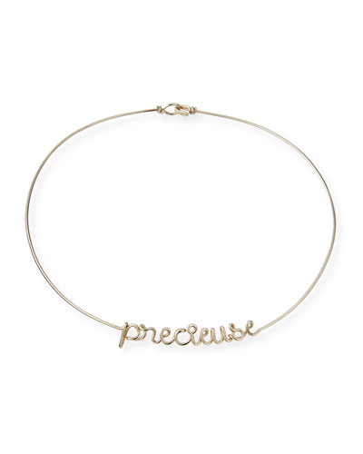 Personalized 6-Letter Wire Necklace  Silver