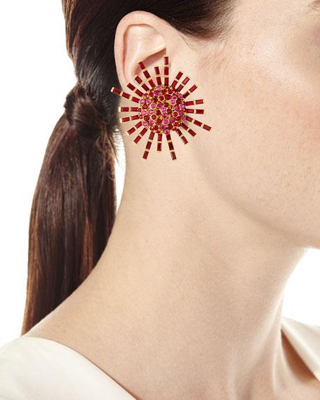 Jeweled Flower Clip-On Earrings