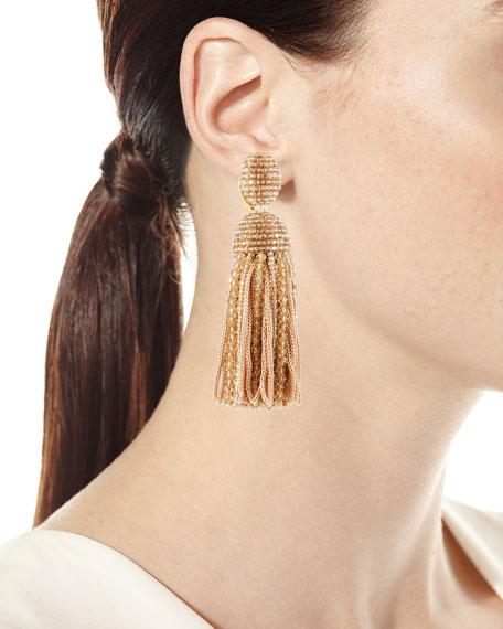 991bdef3c Oscar de la Renta Short Clip-On Bead & Silk Tassel Earrings