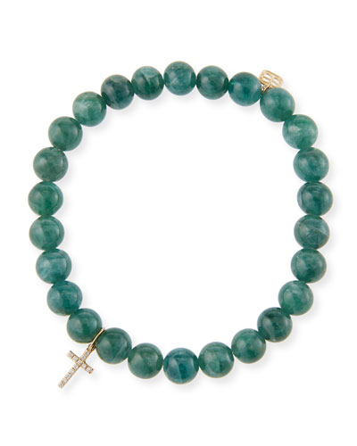 14k Apatite & Diamond Cross Bracelet