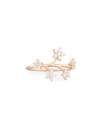 14k Rose Gold Diamond Bouquet Ring