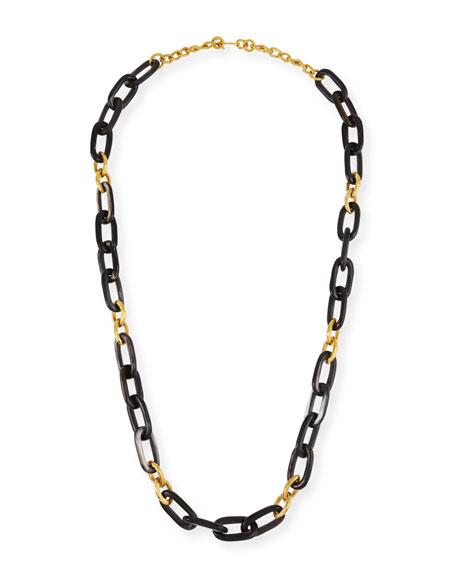 "Dark Horn & Bronze Alternating Link Necklace, 38""L"