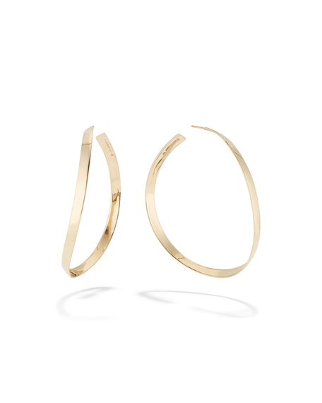 Lana 14K GOLD CURVE WAVE HOOP EARRINGS