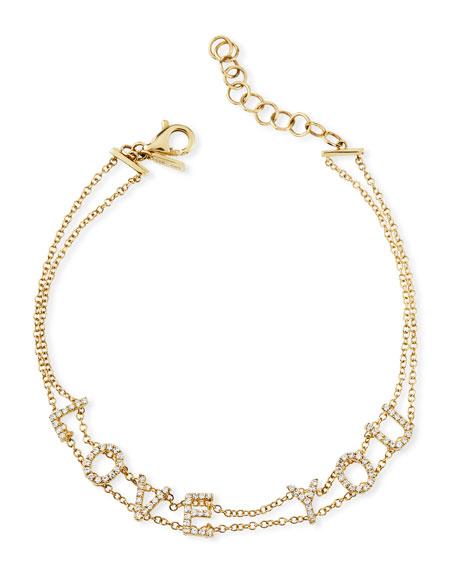 14k Gold Diamond Love You Bracelet