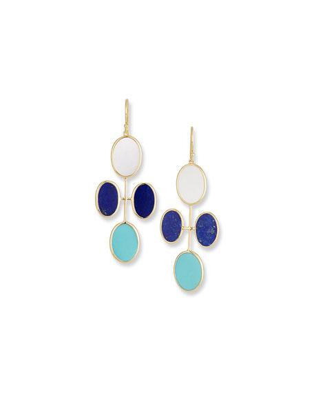 18K Polished Rock Candy Elongated Oval Clover Earrings in Viareggio