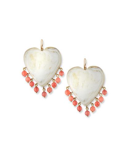 Landa Heart Earrings in Light Horn