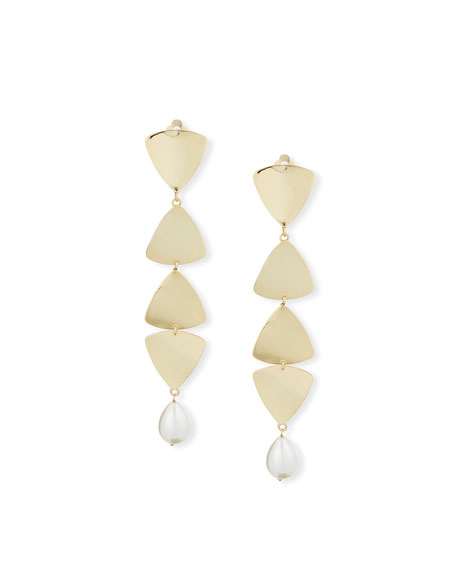 Gelo Pearl & Crystal Clip-On Dangle Earrings