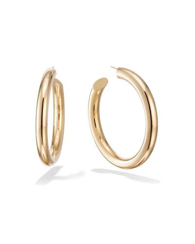 Hollow 14k Gold Wide Hoop Earrings