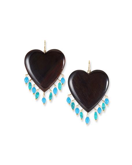 Landa Heart & Dangle Earrings, Dark/Turquoise