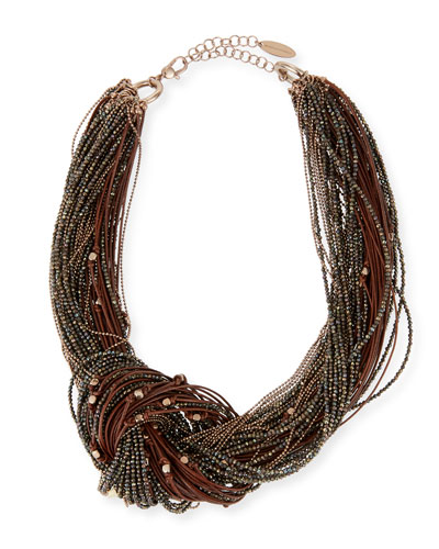 Spinello & Leather Knotted Necklace