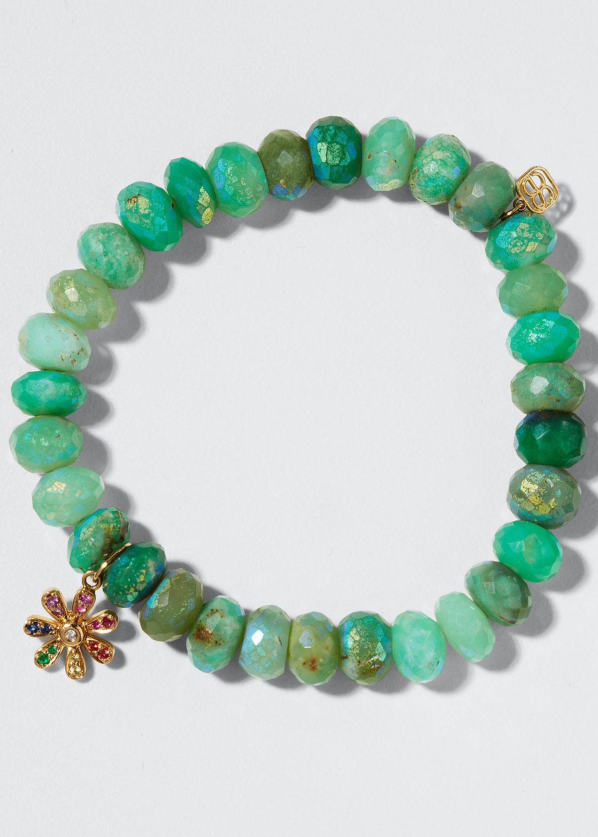 SYDNEY EVAN Bracelets 14K RAINBOW DAISY & CHRYSOPRASE BRACELET