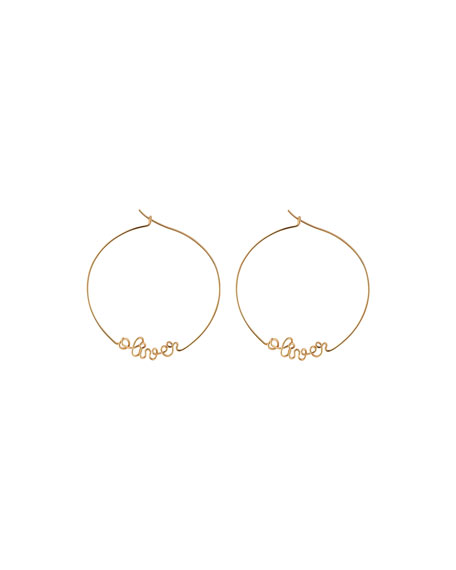 Personalized Gold-Filled Hoop Earrings, 6-10 Letters