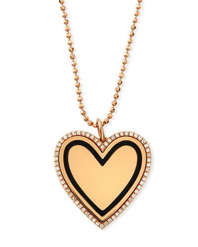 14k Gold & Black Enamel Heart Pendant Necklace w/ Diamonds