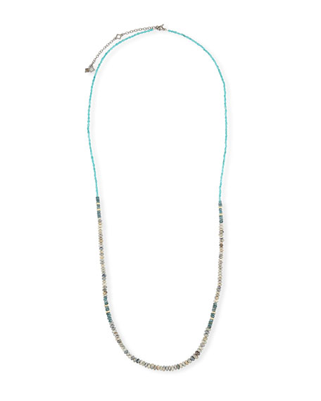 Old World Long Turquoise, Opal & Kyanite Necklace