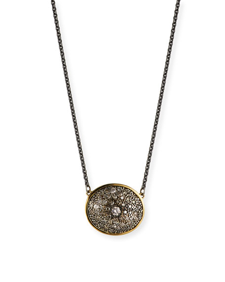 Old World Diamond Oval Pendant Necklace