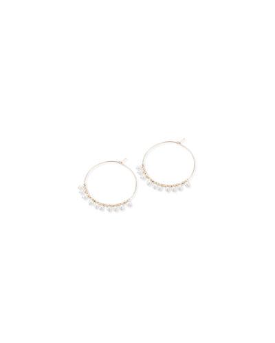 14k Gold Small Hoop & Pearl Dangle Earrings