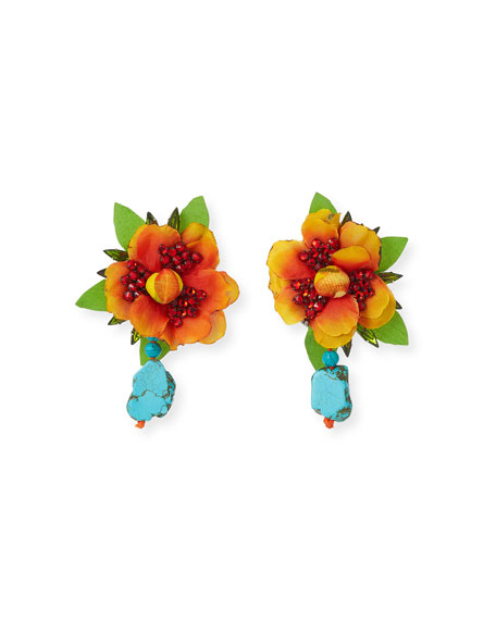 Manta Flower Clip-On Earrings