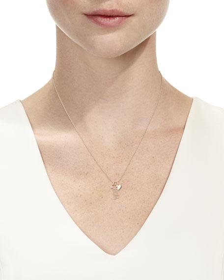 14k Rose Gold Diamond MAMA & Charm Necklace