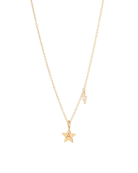 14k Engraved Initial Star Necklace w/ Diamond Bolt