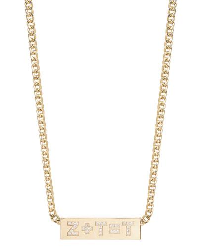 Custom Initial Equation 14k Diamond Engraved ID Necklace