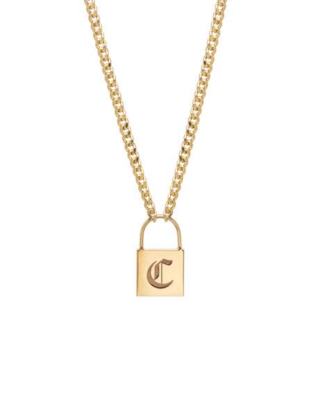 14k Large Engraved Initial Padlock Necklace
