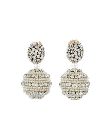 Small Beaded Ball Earrings, Clear