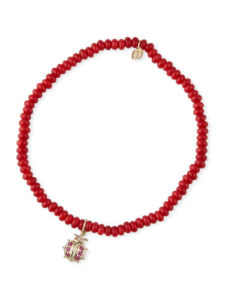 Image 1 of 1: 14k Small Ruby Ladybug & Red Coral Bracelet