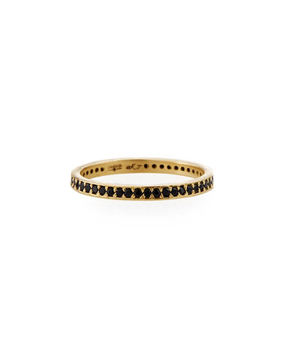 Old World 18k Black Sapphire Eternity Band Ring  Size 6.5