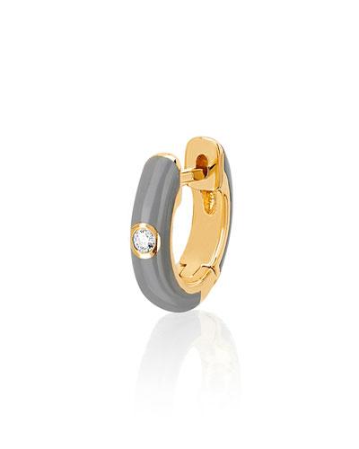 14k Diamond & Enamel Huggie Earring  Single  Gray