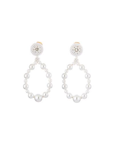 Embellished Pearly Hoop Clip Earrings