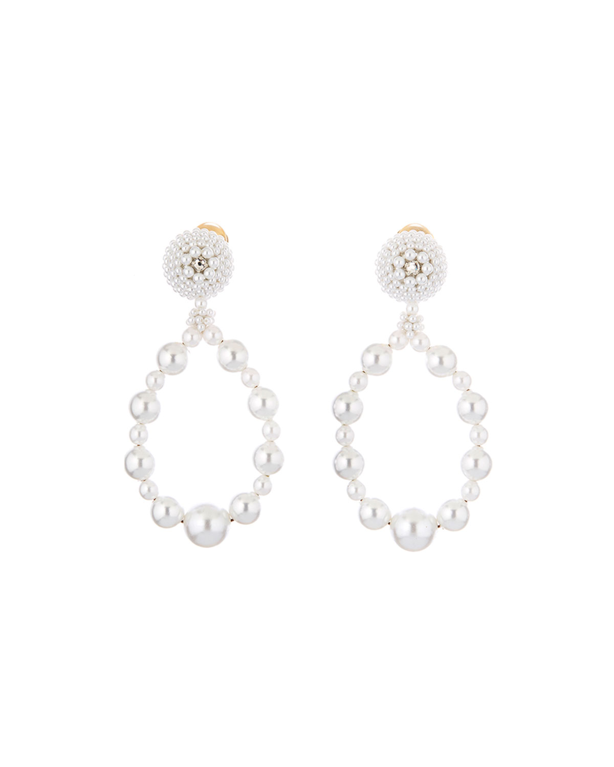 Oscar De La Renta Embellished Pearly Hoop Clip Earrings In White