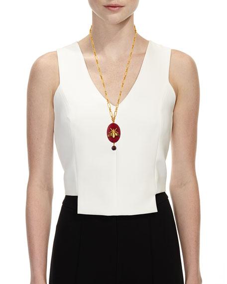 Oval Fly-Stone Pendant Necklace
